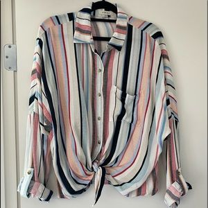 Stripe Long Sleeve Button Up Top with Tie Front